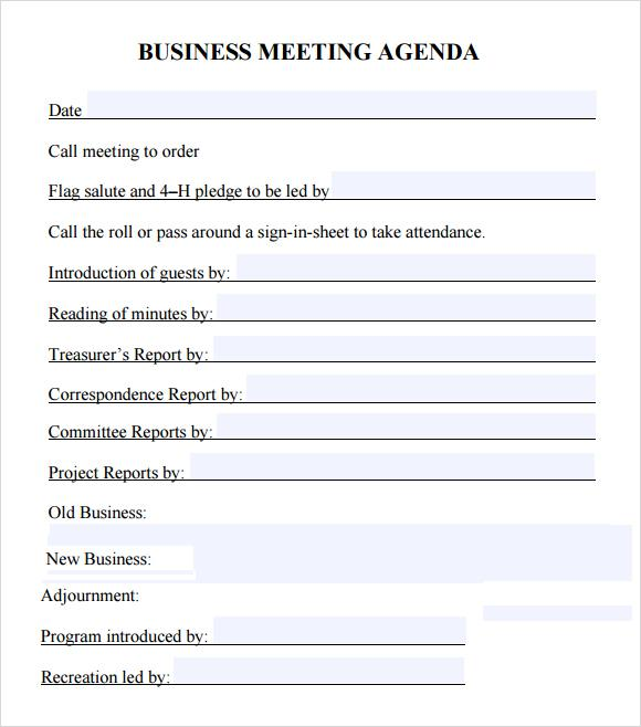 Editable Meeting Agenda Word Format Download