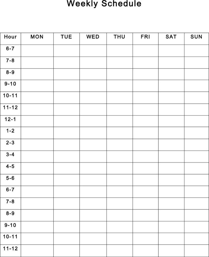 Editable Weekly Schedule Template Download