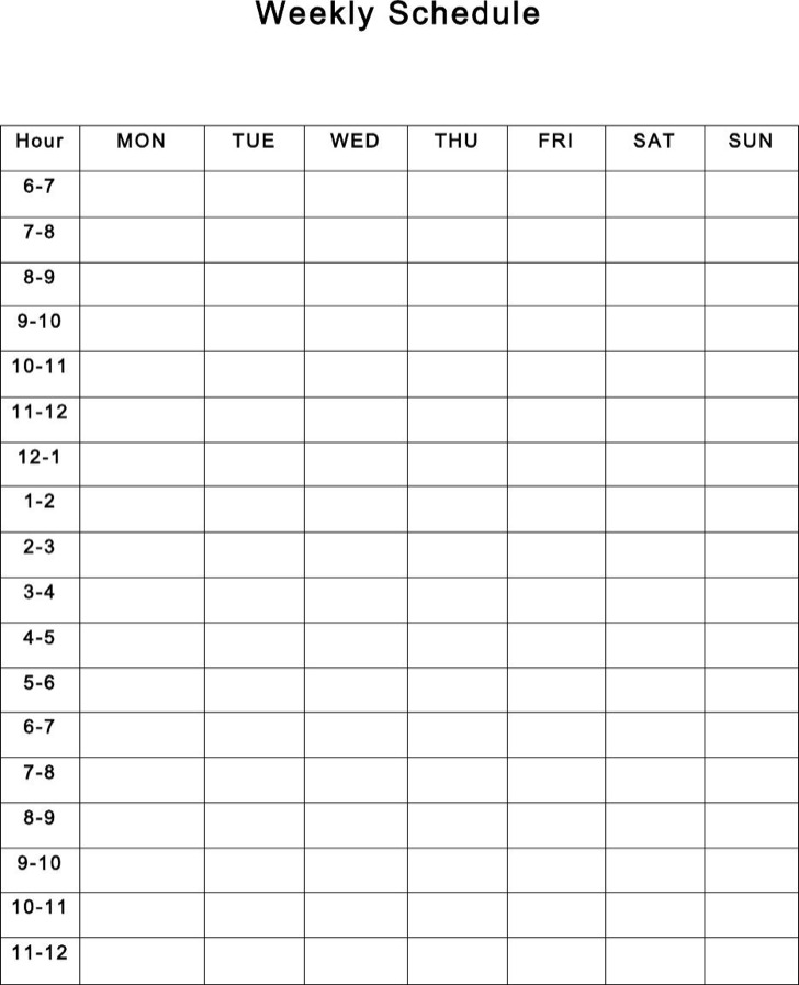 Weekly Schedule Templates  Download Free  Premium Templates