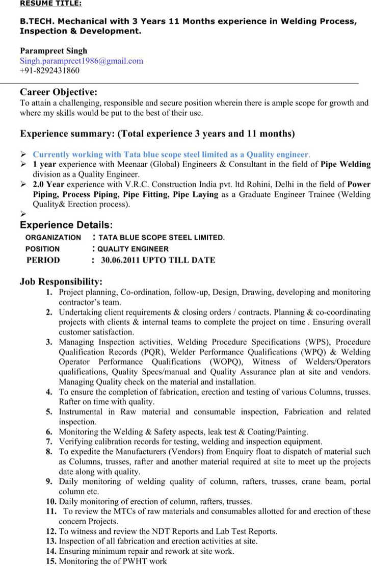 Editable Welding Resume Template