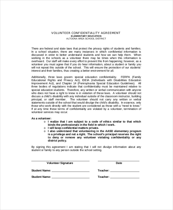 Educational Volunteer Confidentiality Agreement Sample