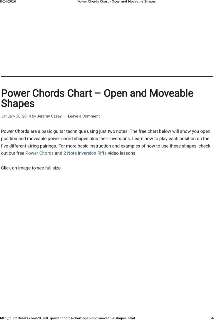 Electric Guitar Chords Chart For Beginner