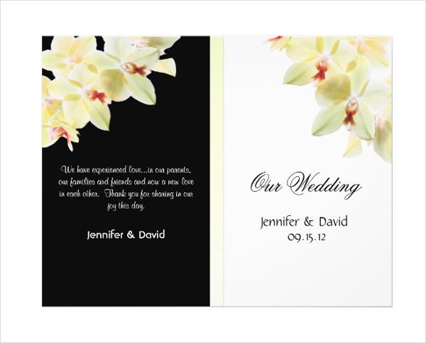 Elegant Orchids Wedding Program Brochure