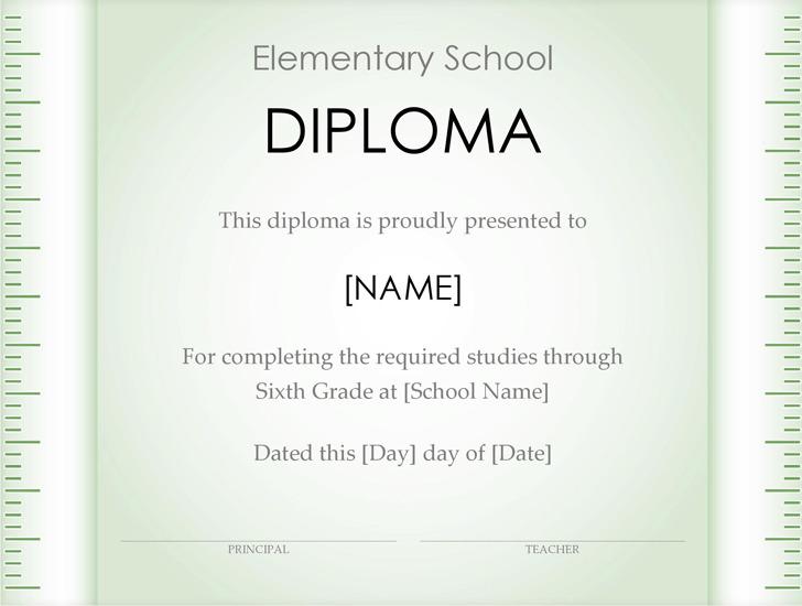 Elementary School Diploma Certificate (Ruler Design)