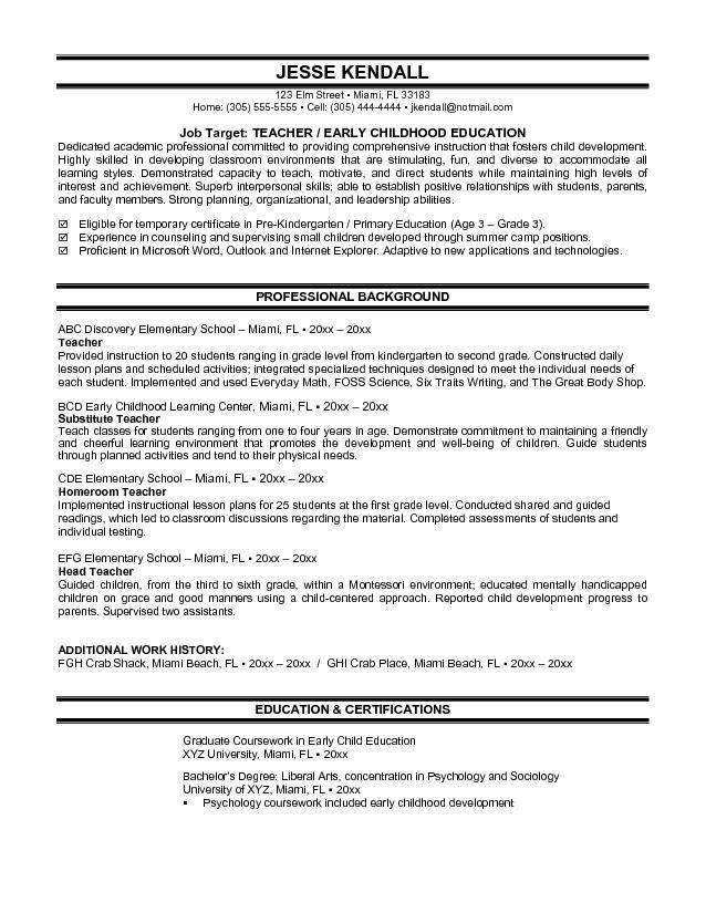 Elementary School Teacher Resume Template Word Doc Download