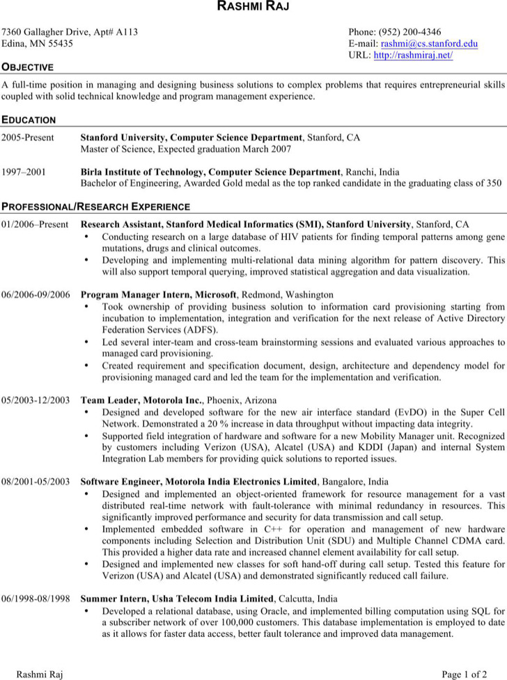 software developer resume sample resume software engineer ...