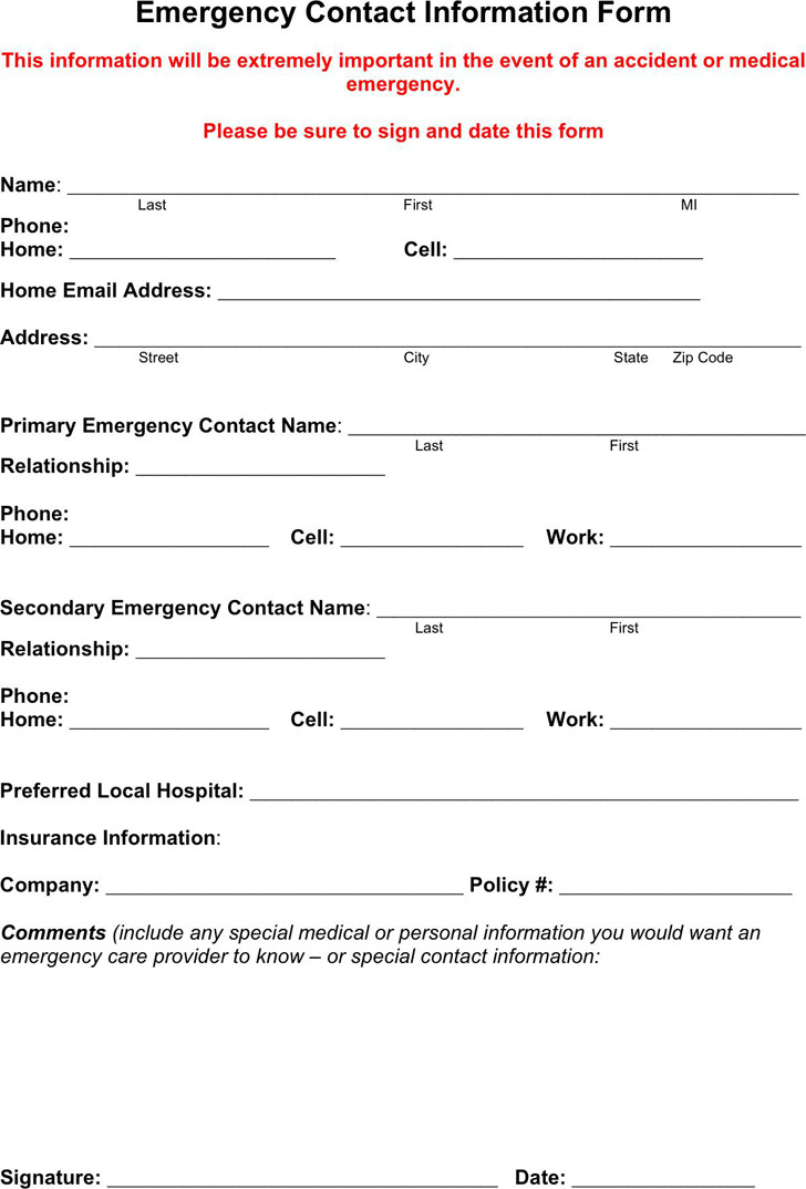 Emergency Contact Form | Download Free & Premium Templates, Forms