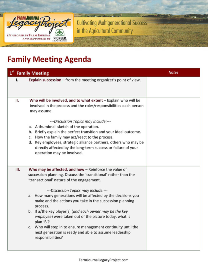 Family Meeting Agenda Templates | Download Free & Premium
