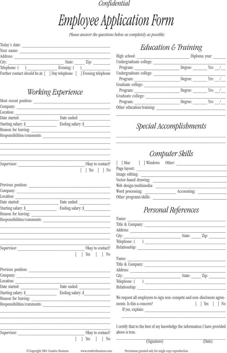 employee application form premium templates employee application form