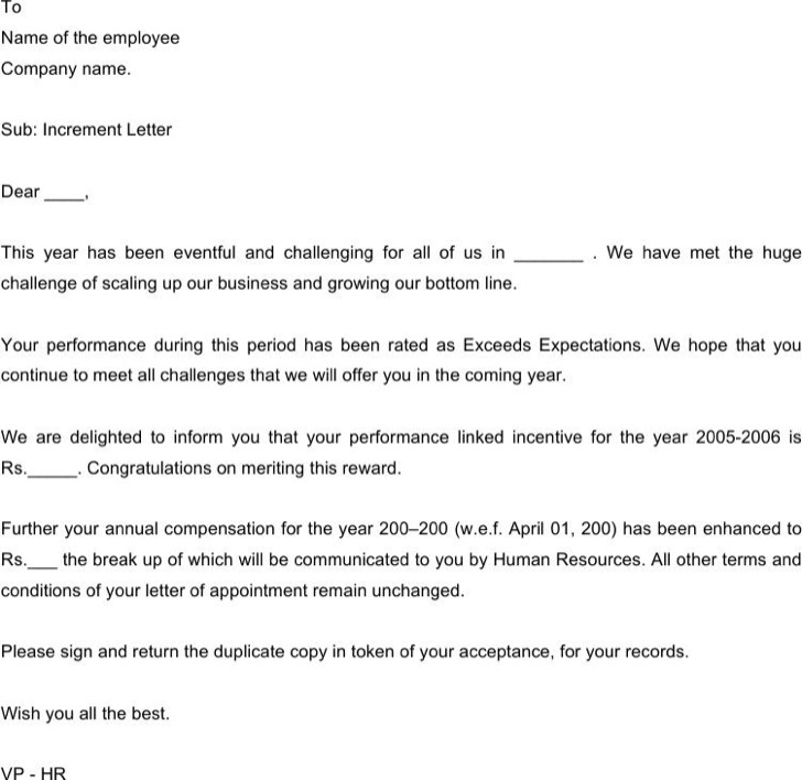Employee Appraisal Letter From Hr Word Doc