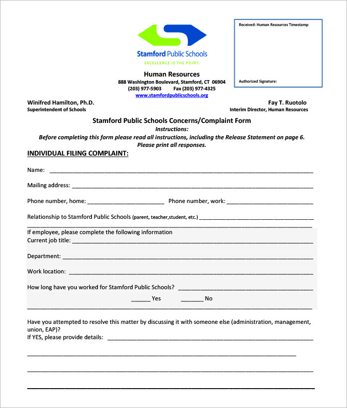 Employee Complaint Form Template  Complaint Forms Template