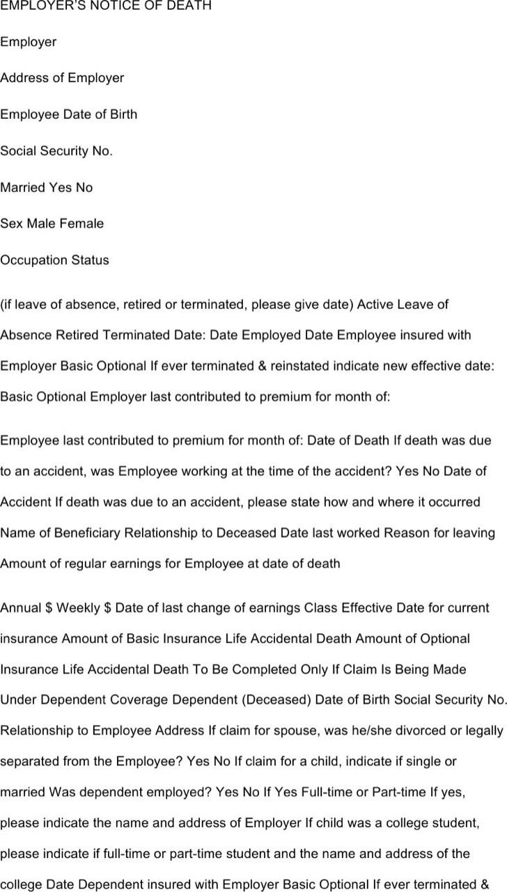 Employee Death Notice Pdf Format