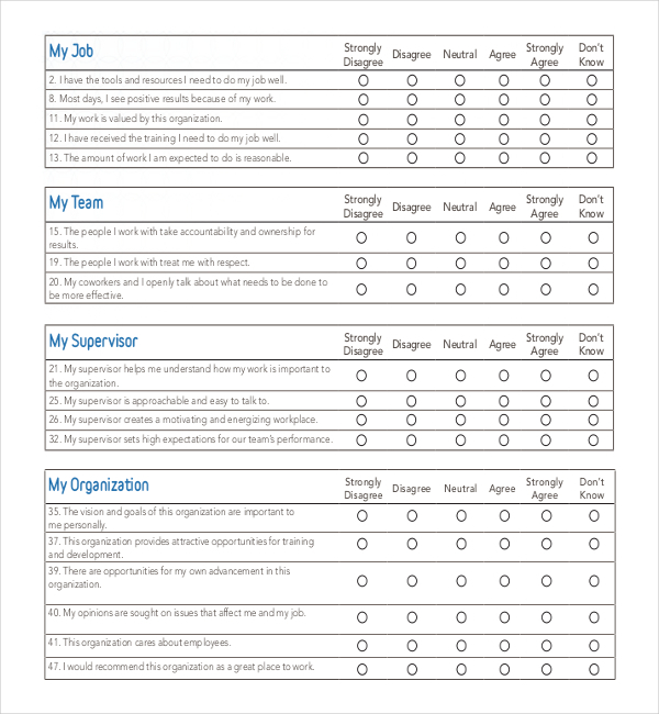 Employee Survey Templates  Download Free  Premium Templates Forms