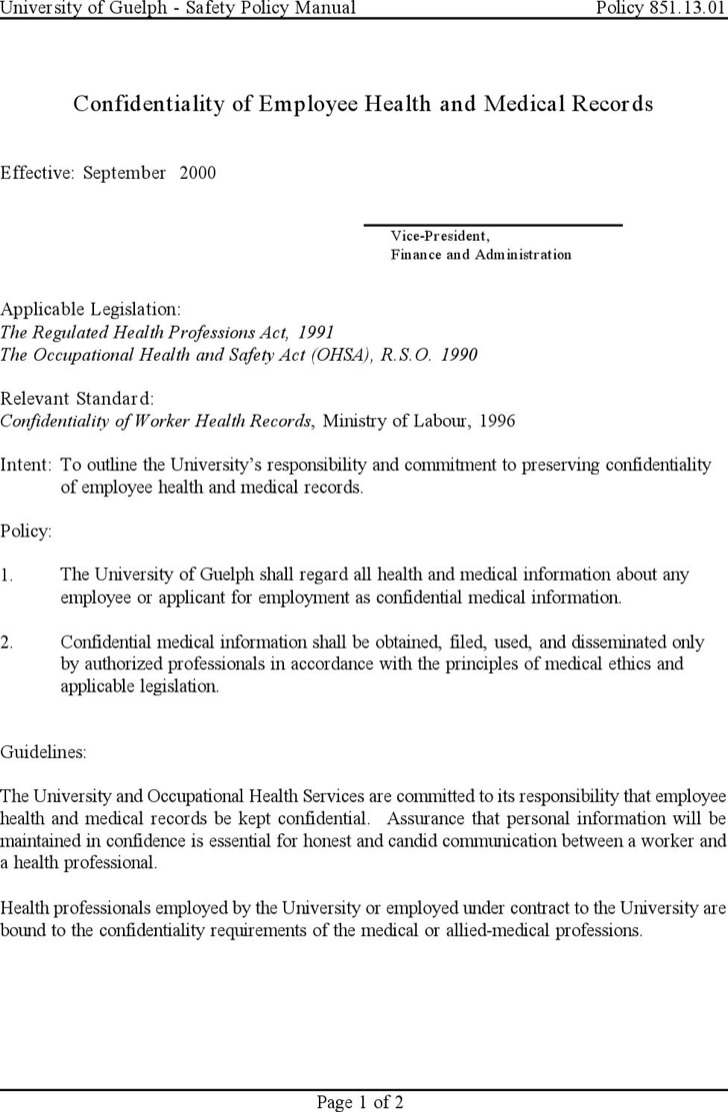 Medical Confidentiality Agreement Templates – Patient Confidentiality Agreement