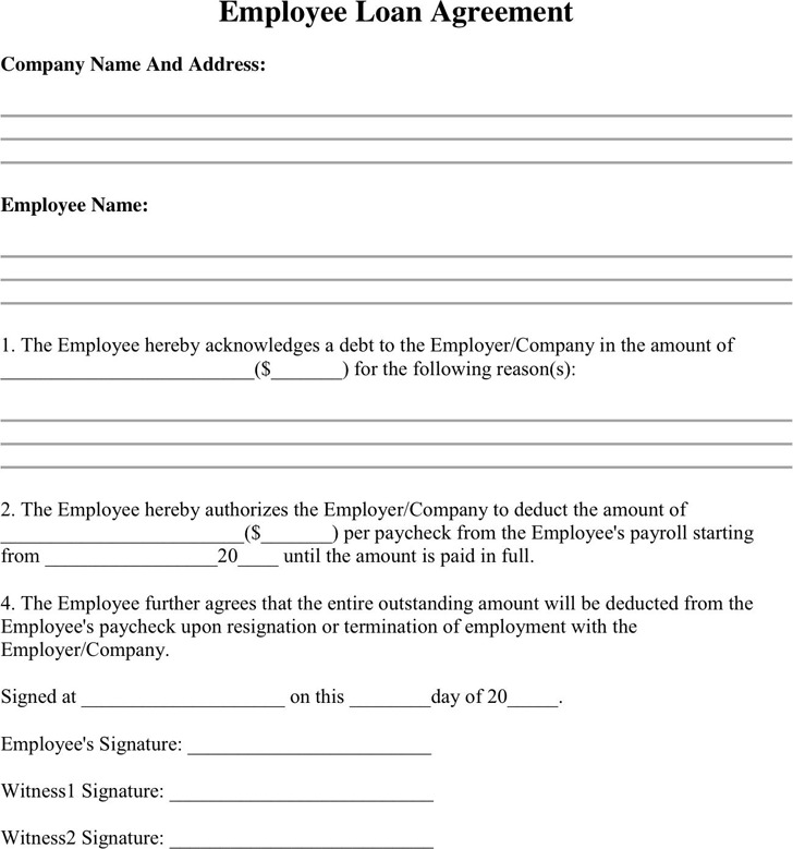 Employee Advance Form Download Employee Loan Agreement  Download