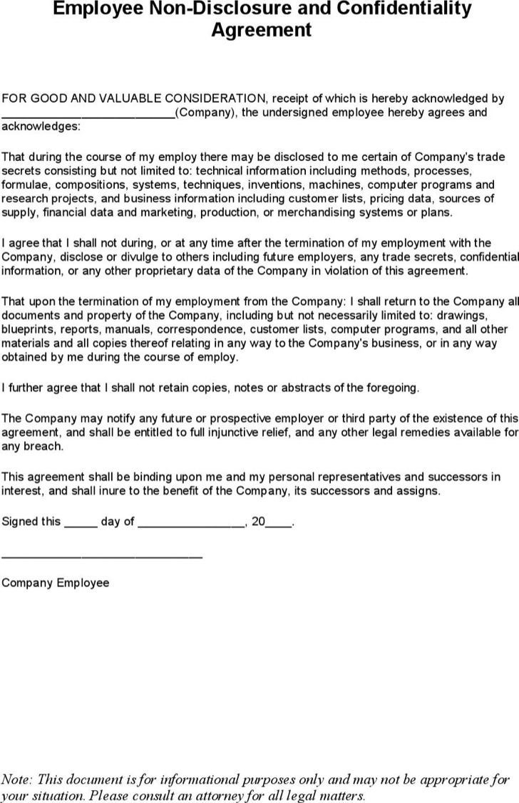 Employee Non Disclosure Agreement