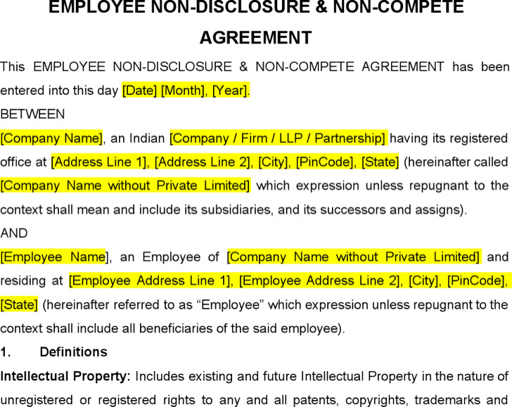 Employee Non Disclosure and Non Compete Agreement