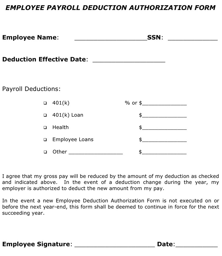 Payroll Deduction Form | Download Free & Premium Templates, Forms