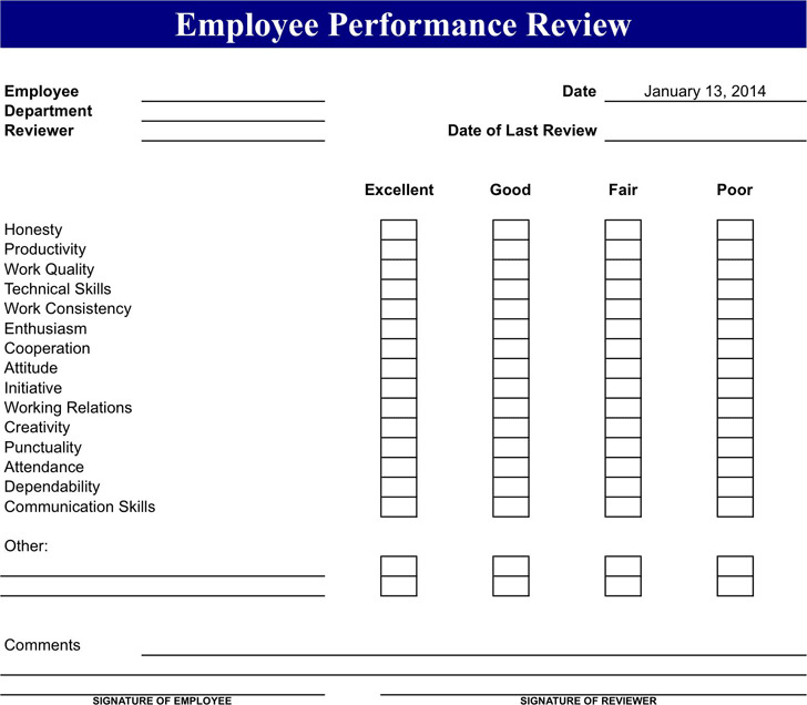 Employee Review Form  Download Free  Premium Templates Forms
