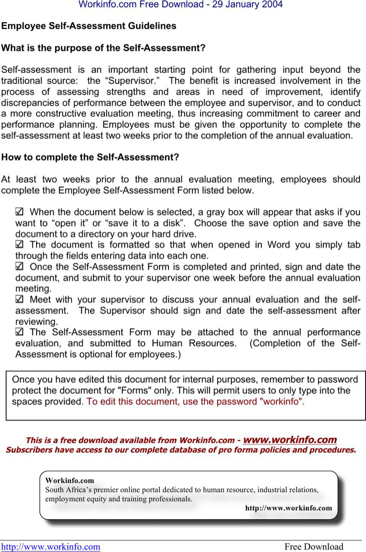 Employee Self Assessment Template