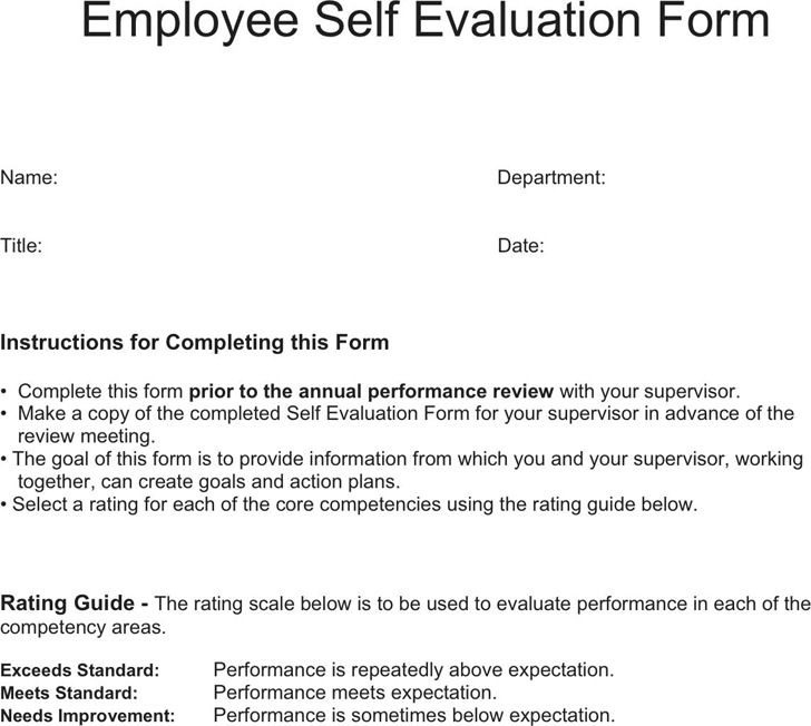 Self Evaluation Template  SaveBtsaCo