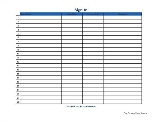Sign In Sheet Doc - Template