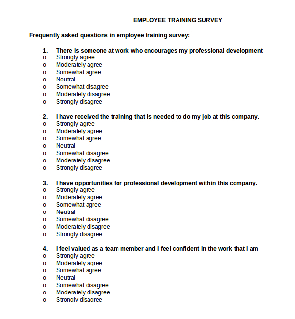 Employee Training Survey Template Free Document Download