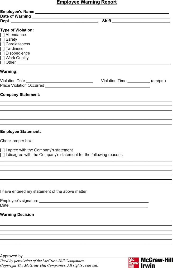writing up an employee