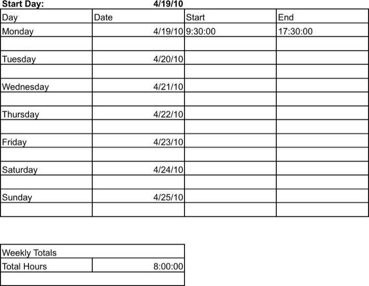 Employee Weekly Time Tracking Template