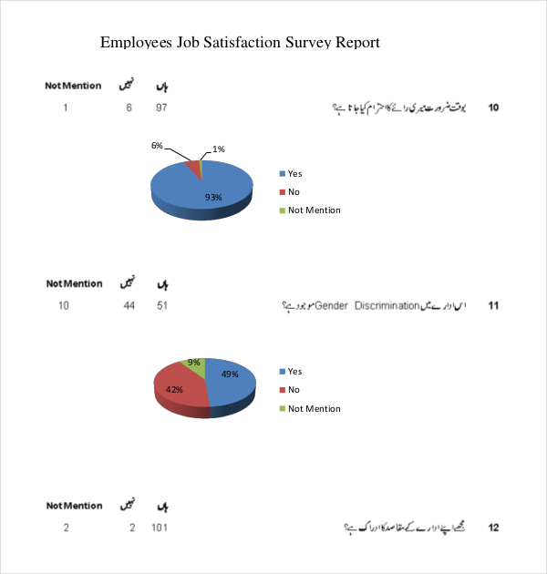 Employees Job Satisfaction Sample Survey Report Template