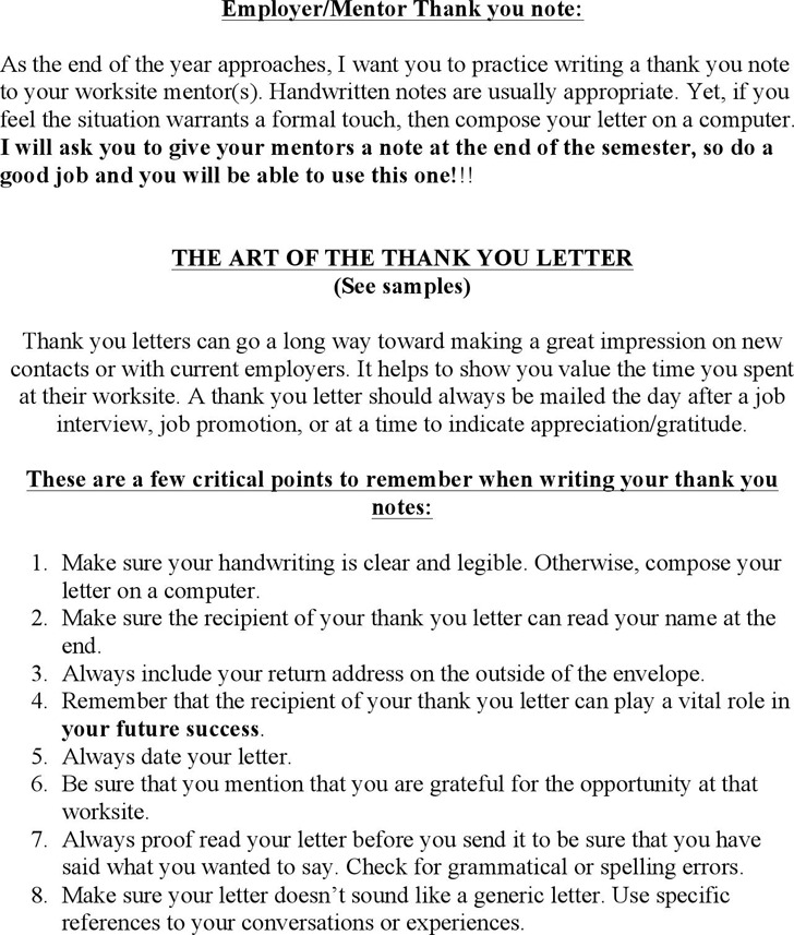 Employer/Mentor Thank You Note