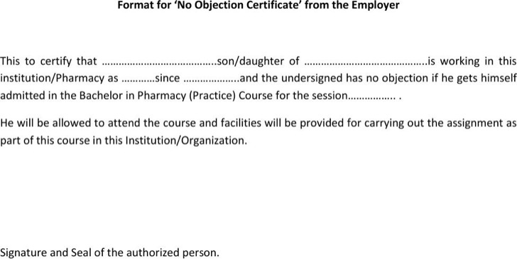 Employer No Objection Certificate  No Objection Certificate Template