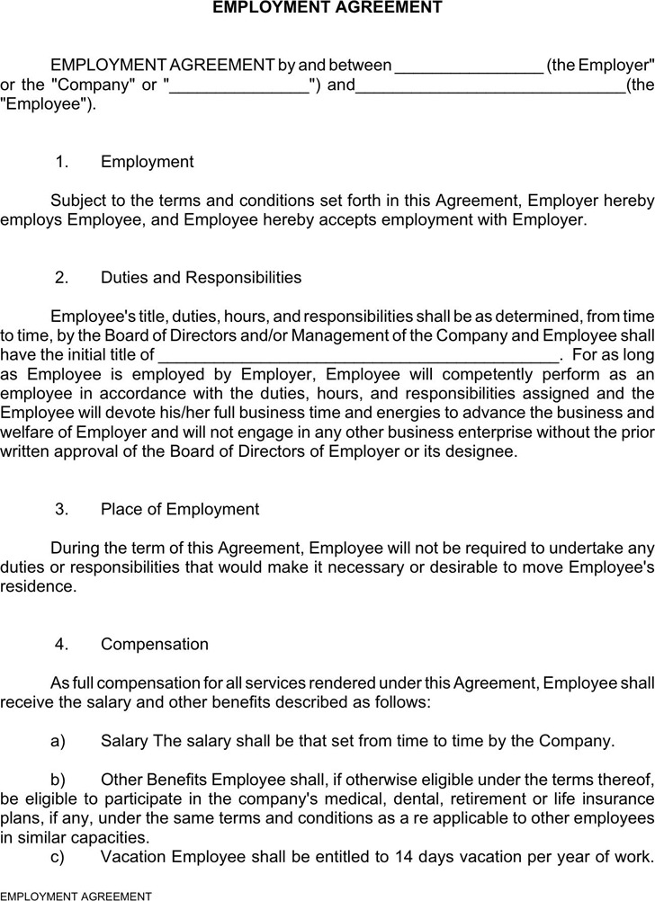 Employment Agreement  Download Free  Premium Templates Forms