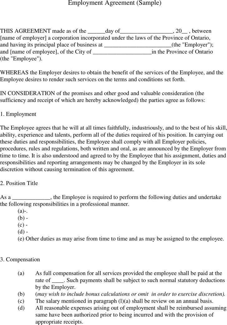 Employment Agreement Sample 1