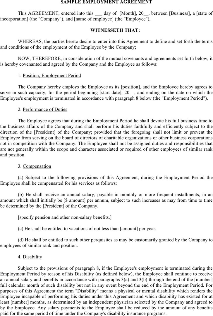 Employment Agreement Sample | Download Free & Premium Templates