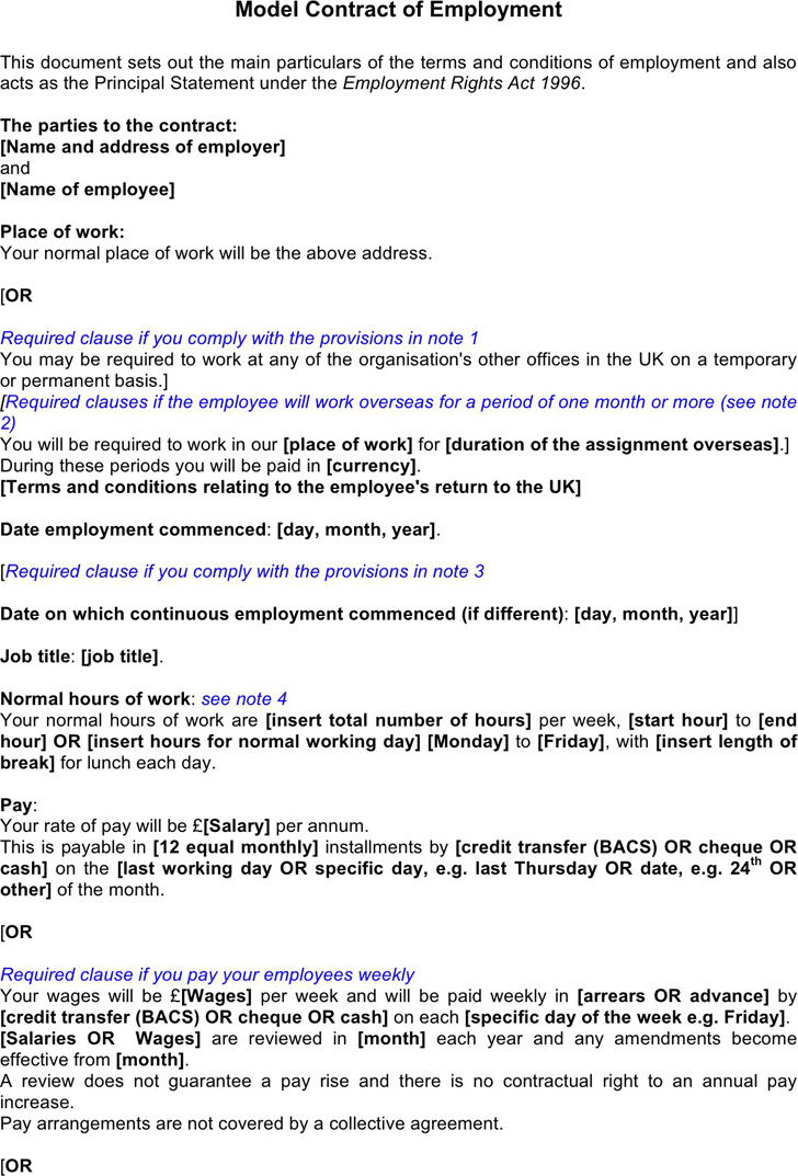 Employment Agreement Template 1