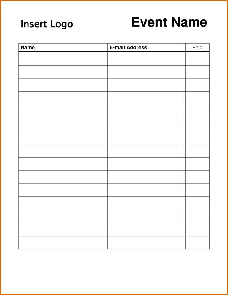 Employment Application Sign Up Sheet