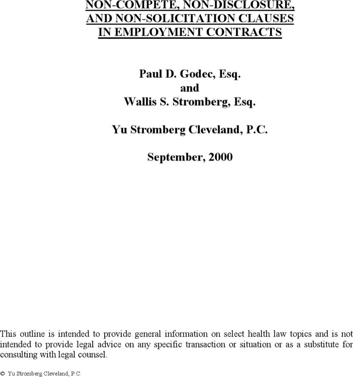 Employment Non Compete Agreement
