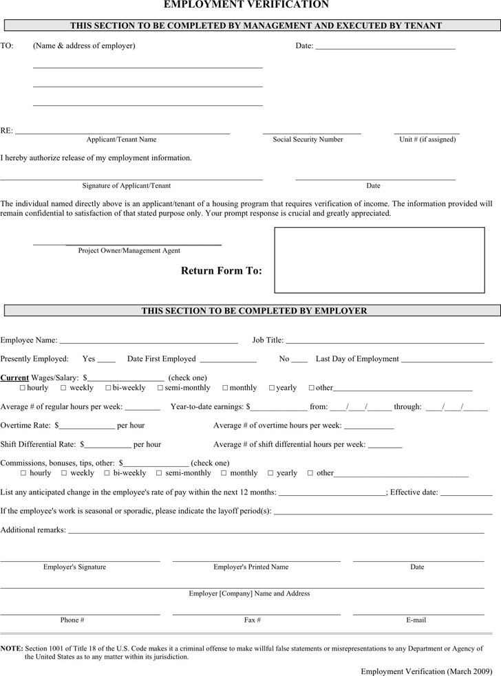 Employment Verification Form | Download Free & Premium Templates
