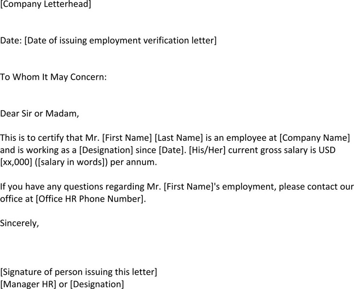 Employment Verification Letter Template | Download Free & Premium