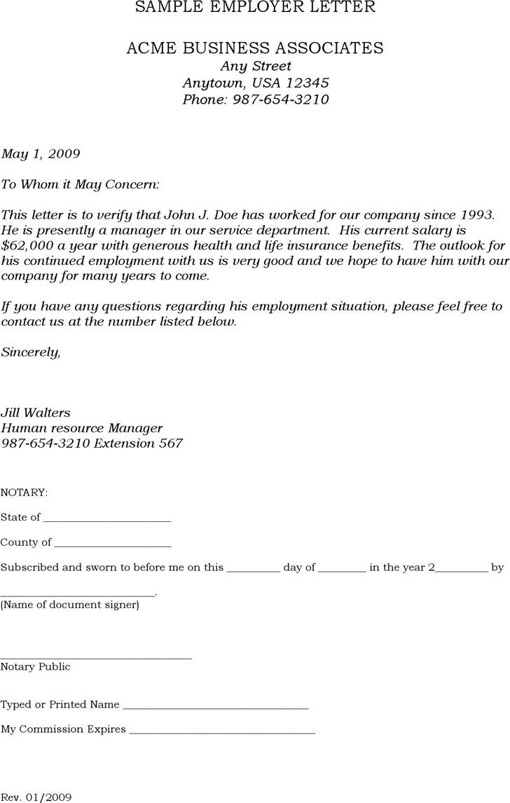 Sample Employer Letter