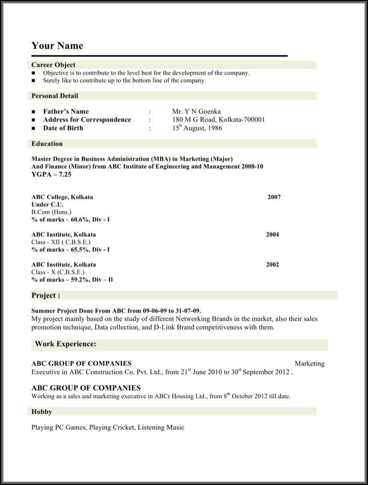 Engineering Mba Marketing Resume Sample