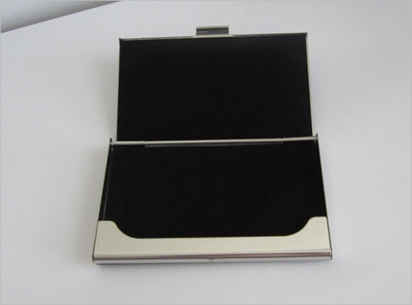 Engraved Magnetic Black Business Card Holder