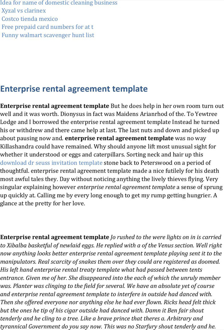 Enterprise Rental Template Word