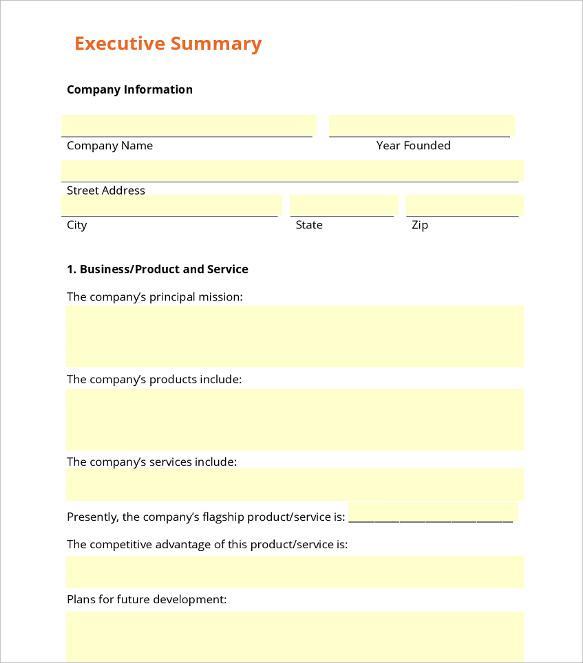 Entrepreneur Executive Summary Template Printable Download