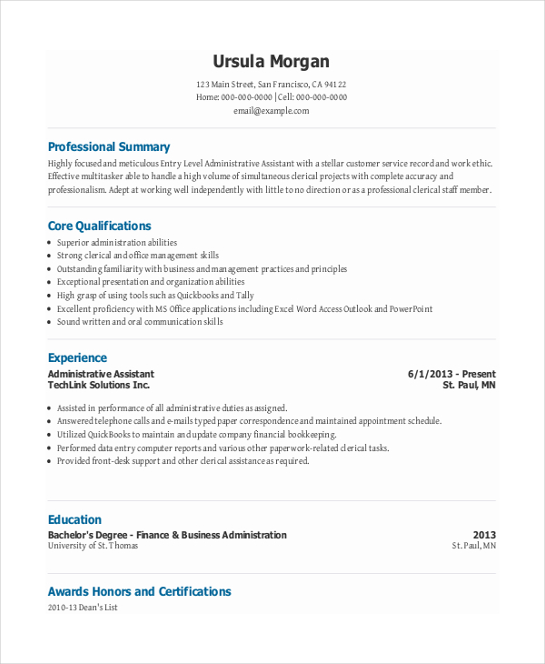 Entry Level Administrative Assistant Functional Resumes