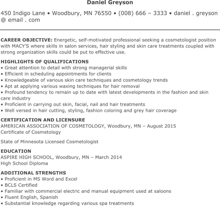 Cosmetology Resume Templates – Cosmetology Resume