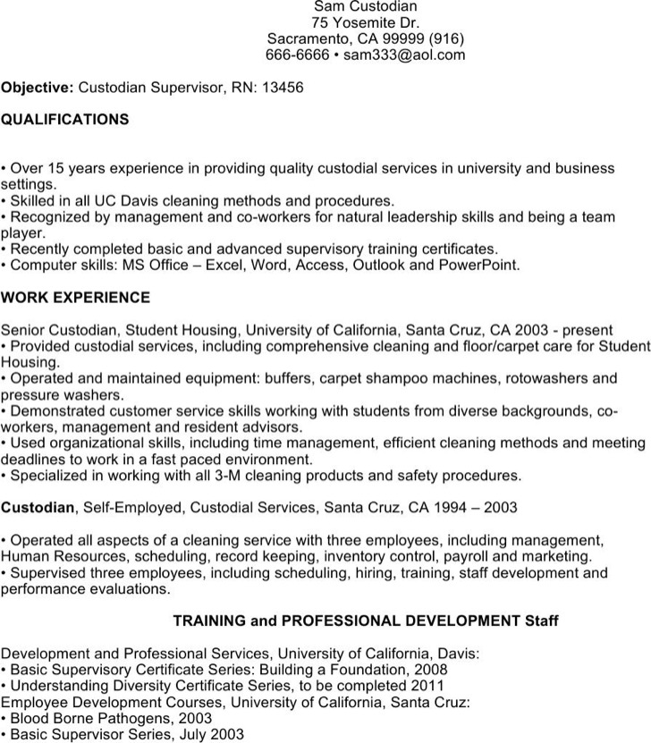 Entry Level Custodian Resume