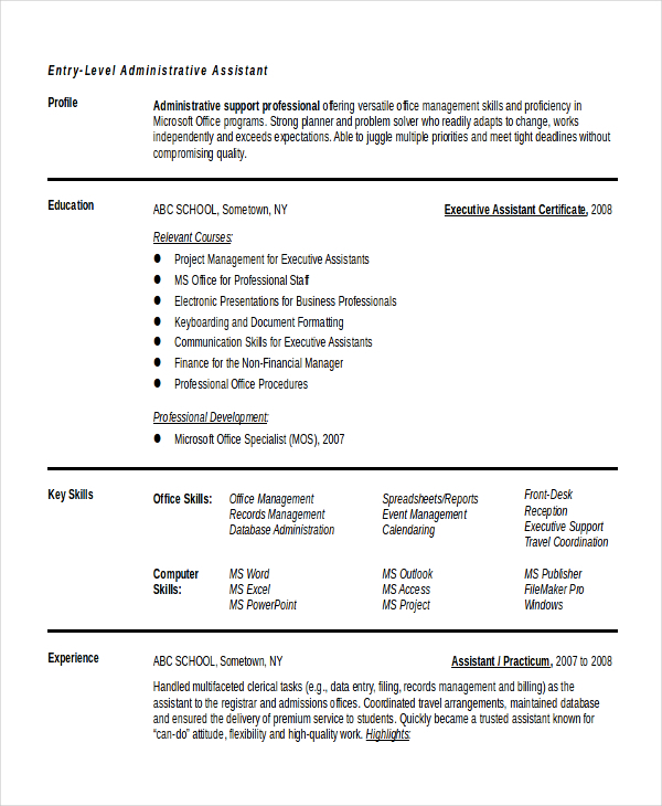 Executive Administrative Assistant Resume  Download Free