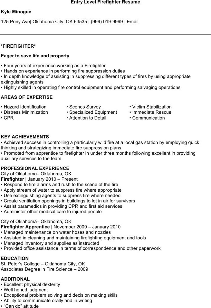 firefighter resume templates free paramedic objective